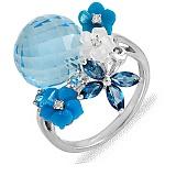 Золотое кольцо с топазами, перламутром и бриллиантами Нежное соцветие