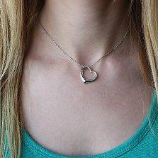 Серебряный кулон-сердце Лирика с бриллиантом