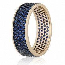 Серебряное кольцо с синими фианитами Энрика