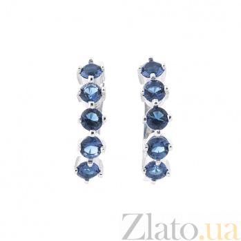 Серебряные серьги Николетта с синими фианитами 000080199