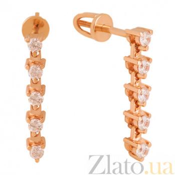 Золотые серьги-подвески с фианитами Вавилон VLN--213-1723
