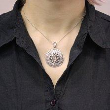 Серебряный кулон Калейдоскоп с чернением и знаками зодиака