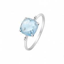 Кольцо в белом золоте Элеонора с голубым топазом и бриллиантами