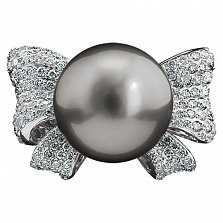 Золотое кольцо с черным жемчугом и бриллиантами Жаннет
