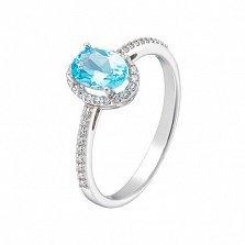 Золотое кольцо Верона в белом цвете с голубым топазом и фианитами