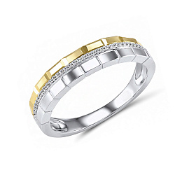 Обручальное кольцо Фиделия из желтого и белого золота с бриллиантами