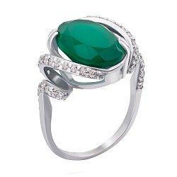 Серебряное кольцо Оливка с узорной шинкой, зеленым агатом и белыми фианитами