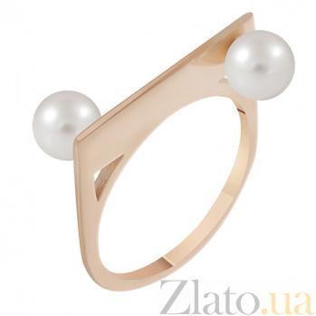 Золотое кольцо с жемчугом Домино 000032797