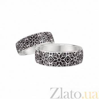 Золотое обручальное кольцо Стильный образ с чёрными бриллиантами и эмалью 1К549-0033/A03В01F02H89