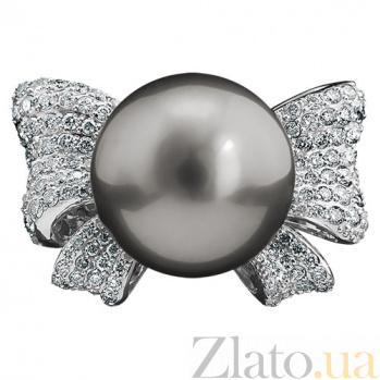 Золотое кольцо с черным жемчугом и бриллиантами Жаннет KBL--К1828/бел/жемч