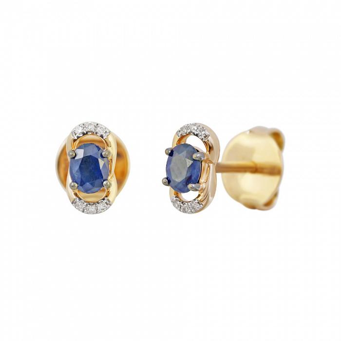 Золотые серьги с сапфирами и бриллиантами Милисент 000032327