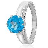 Золотое кольцо Гарнет в белом цвете с голубым топазом