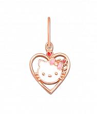 Кулон-сердце из красного золота Кошечка Китти с белой, розовой и красной эмалью