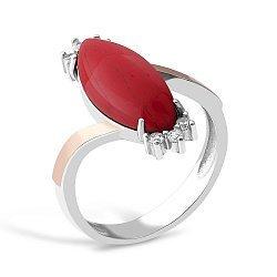 Серебряное кольцо с имитацией яшмы и фианитами 000149515