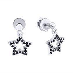 Серебряные серьги-подвески с черными фианитами 000122426