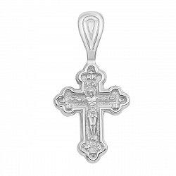 Серебряный родированный крестик Божий день