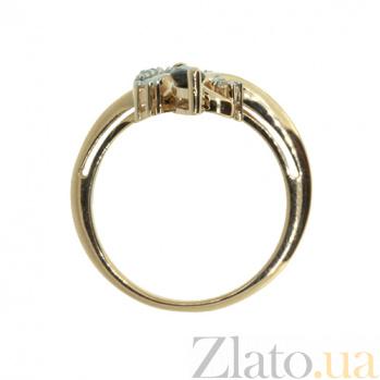 Золотое кольцо в красном цвете с бриллиантами и сапфиром Райна ZMX--RDS-6894_K