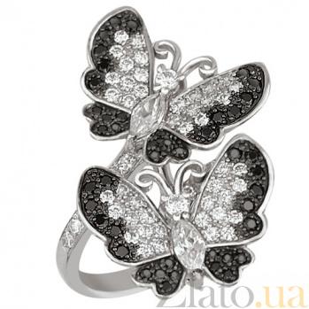 Кольцо из белого золота с фианитами Весенние бабочки VLT--ТТ132