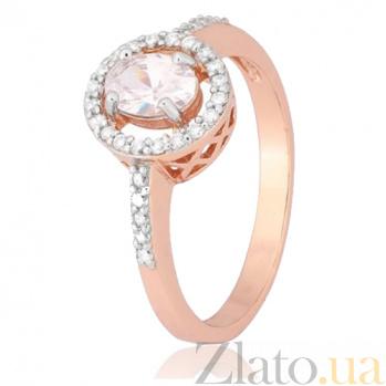 Позолоченное серебряное кольцо с цирконием Римма 000028405