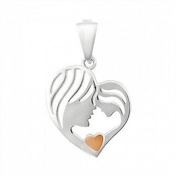 Серебряный кулон Мама и дочка в виде сердца с золотой накладкой 000102160