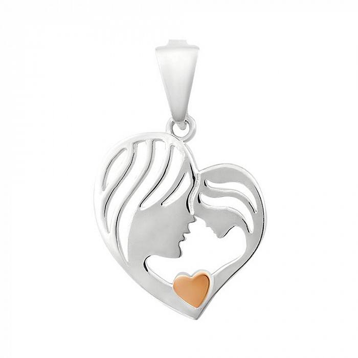 Серебряный кулон Мама и дочка в виде сердца с золотой накладкой 000102160 000102160