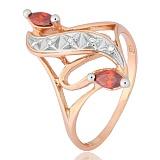 Позолоченное серебряное кольцо с красным  цирконием Альфия