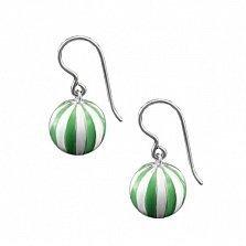 Серебряные серьги-подвески Мячики с зелено-белой эмалью