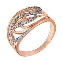 Золотое кольцо Аделайн в комбинированном цвете с фианитами