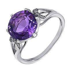 Серебряное кольцо с аметистом и цирконием 000010799