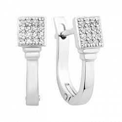 Золотые серьги Миранда с бриллиантами в белом цвете