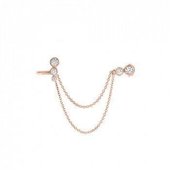 Срібні сережки-кафи Casual Chic в позолоті з фіанітами 000056430
