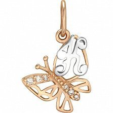 Золотой подвес Мотылек - буква К с фианитами