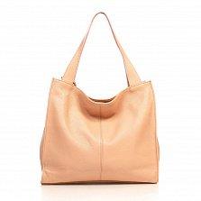 Кожаная сумка на каждый день Genuine Leather 8963 пудрового цвета на молнии, с подвеской из кожи