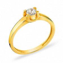 Кольцо из желтого золота с фианитом Признание