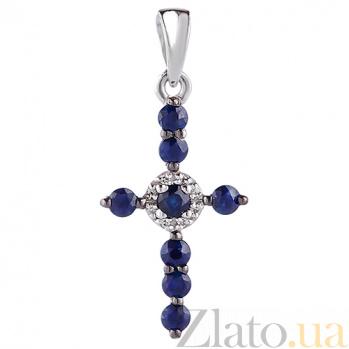 Крестик в белом золоте Восхищение с сапфиром и бриллиантами SVA--3101399202/Сапфир