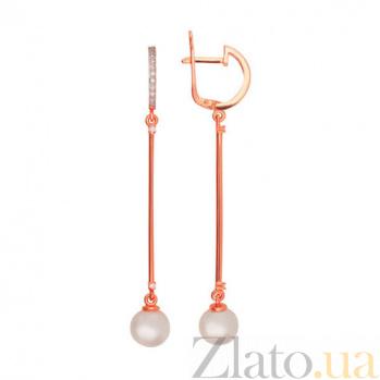 Золотые серьги Невесомость с жемчугом и фианитами VLT--22025