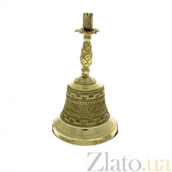 Бронзовый колокольчик Почаевская Лавра с подсвечником K3212