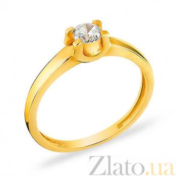 Кольцо из желтого золота с фианитом Признание SUF--140401ж