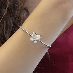 Серебряный браслет Летнее настроение с белым цирконием и замком-бабочкой