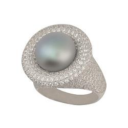 Золотое кольцо Монарх в белом цвете с серой жемчужиной и фианитами