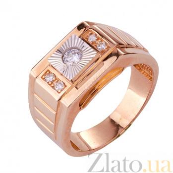 Золотое кольцо-печатка с фианитами Демид ONX--к02236