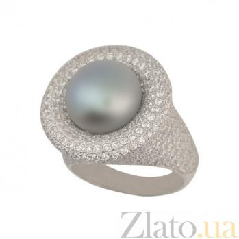 Золотое кольцо Монарх с темной жемчужиной и фианитами VLT--ТТ1225