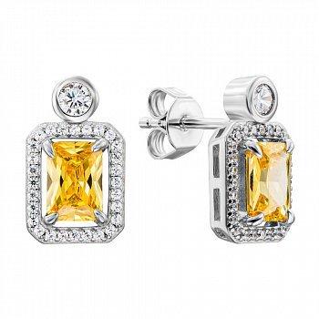 Серебряные серьги с желтыми и белыми фианитами 000134018