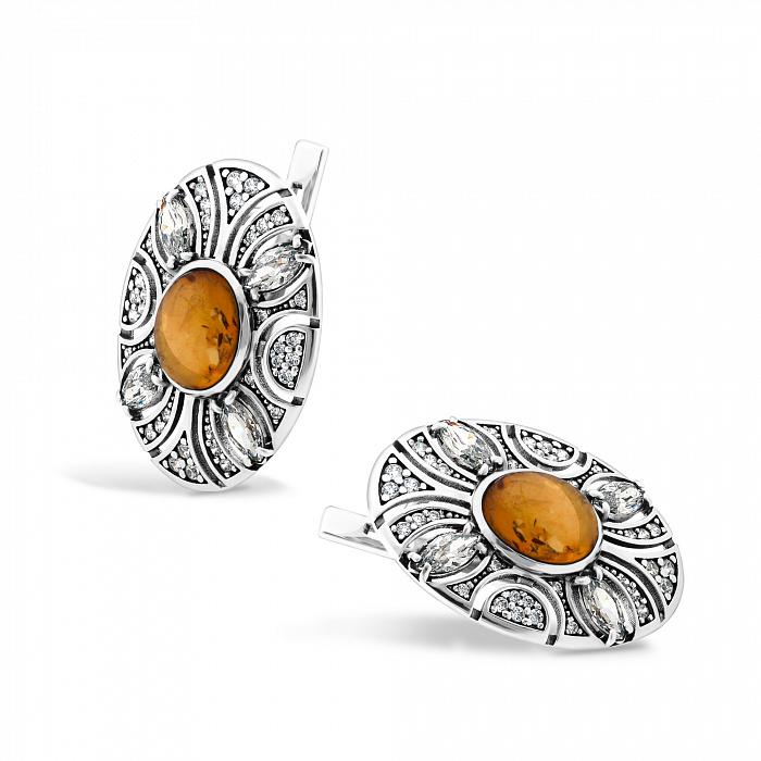 Серебряные родированные серьги Карима с янтарем и фианитами 000082113