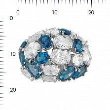 Серебряное кольцо Аврора с топазами и фианитами