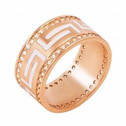 Золотое обручальное кольцо Бесконечная любовь с фианитами и белой эмалью