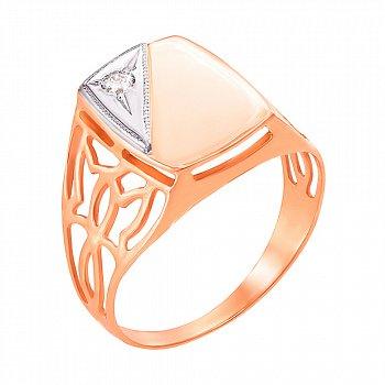 Золотой перстень-печатка с кристаллом циркония 000104213