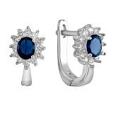 Серебряные сережки с синими фианитами Анкария
