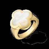 Кольцо желтого золота с белым перламутром Alhambra