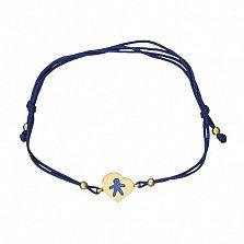 Шелковый браслет Человечек в желтом золоте с эмалью